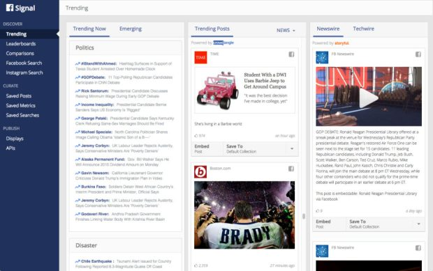 Above: Facebook's new Signal tool for journalists. Image Credit: Facebook