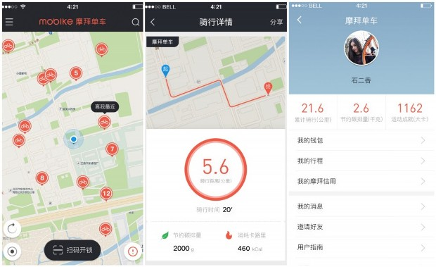 Screenshot of the Mobike App (Source: ecmoban)