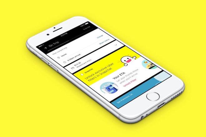 Snapchatを統合したUber。ユーザーは特別なフィルターを使うことができる。 Image Credit: Uber