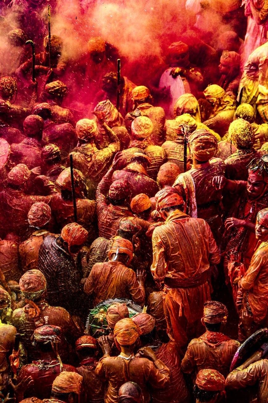 people celebrates holi festival