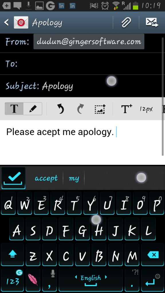 Ginger-Android-aplogy