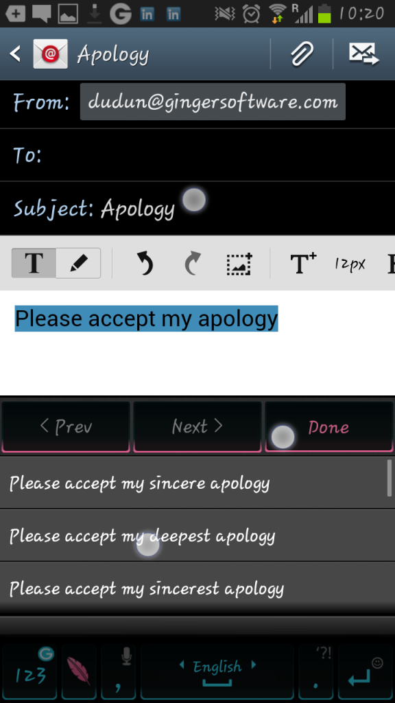 Ginger-Android-apology-rephrase