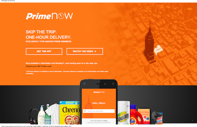 Amazon Prime Now - Skip the Trip. One-Hour Delivery.