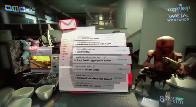 Above: A screen shot from a new Magic Leap video showing an augmented reality Gmail interface. Image Credit: Magic Leap