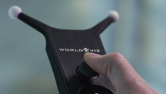 Above: WorldViz uses handheld sensors for gesture control in VR. Image Credit: WorldViz