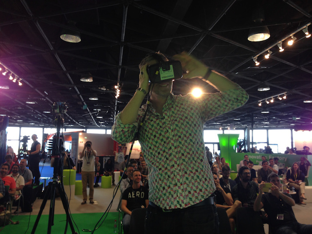 Above: Brady Forrest, who runs the Highway1 hardware accelerator in San Francisco, tries VideoStitch live streaming program on the Occulus Rift. Image Credit: VentureBeat/Chris O'Brien