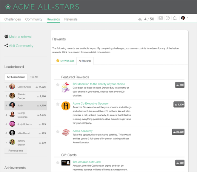 Above: A rewards and leaderboard screen Image Credit: Influitive