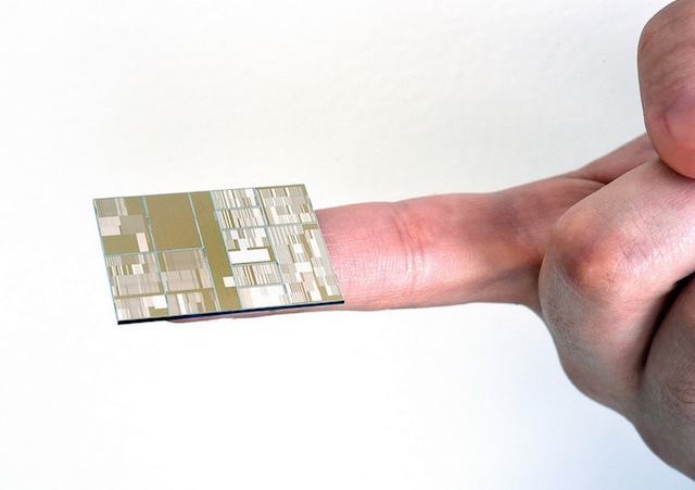 Above: IBM's 7-nanometer chip has circuits that are 1,400 times smaller than a human hair. Image Credit: IBM