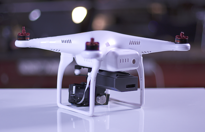 Above: The Percepto unit is the black box mounted on the right on the underside of this DJI Phantom drone. Image Credit: Percepto