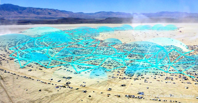 Above: Firechat lets people at Burning Man stay connected to each other. Image Credit: Firechat