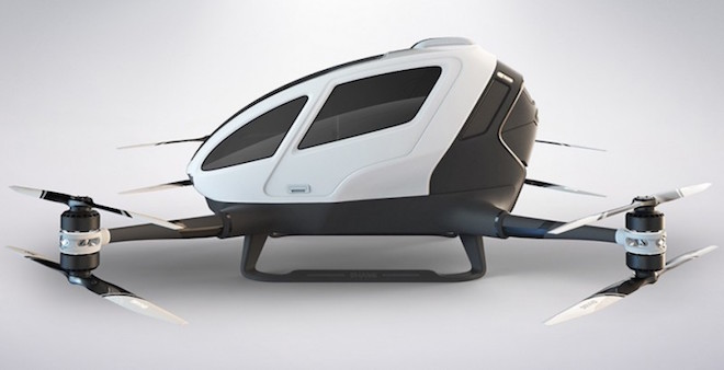 Above: EHang184 drone can carry a human passenger. Image Credit: EHang