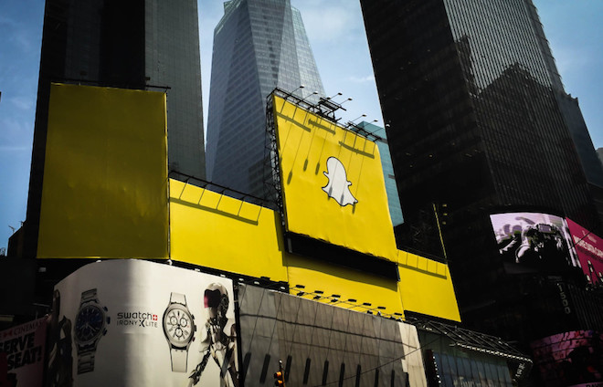 Above: Snapchat billboard in Times Square, New York City on May 19, 2015. Image Credit: Ken Yeung