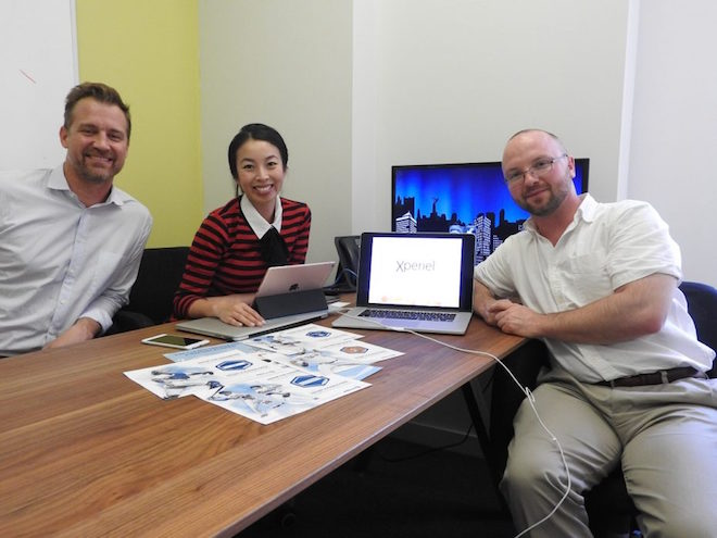 Above: Xperiel's Lyle Einstein (left), Connie Tang, and Alex Hertel. Image Credit: Dean Takahashi