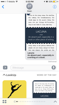 Above: LookUp's iMessage app. Image Credit: Screenshot