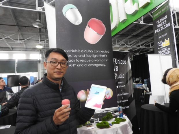 Above: Donald Hsu shows off the Love Nuts sex toy. Image Credit: Dean Takahashi