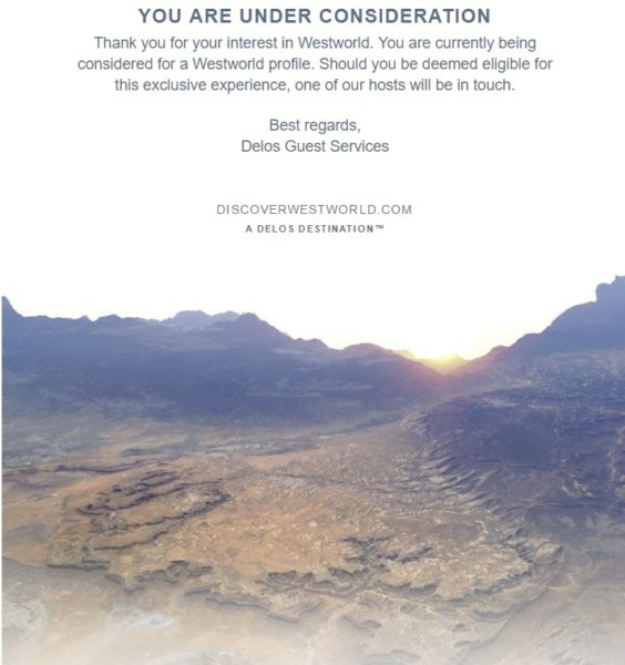 Above: My reply from the Discover Westworld site. Image Credit: HBO
