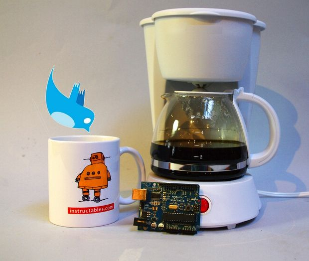 An Arduino makes it possible to tweet to your coffee pot and have a fresh brew ready before you get home. Photo credit: Instructables.