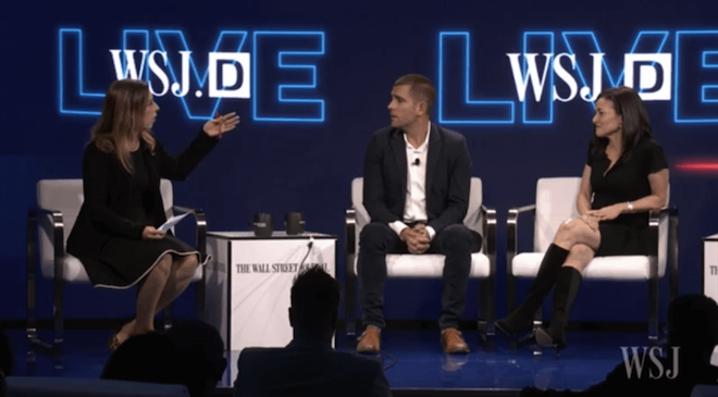 Above: Facebook COO Sheryl Sandberg (right) and Chief Product Officer Chris Cox (center) on stage at the WSJD Live 2016 conference. Image Credit: Screenshot