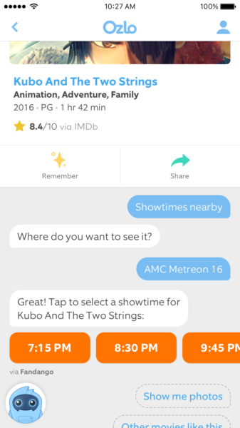 Above: Ozlo app displays movie showtimes, a recently added feature for the intelligent assistant Image Credit: Ozlo