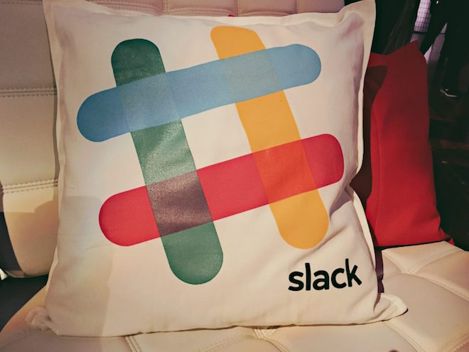 Above: Slack pillows on display during a company event. Image Credit: Ken Yeung/VentureBeat