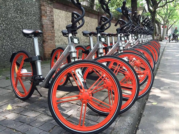 Mobike's bikes lined up on the streets (Source: Mobike)