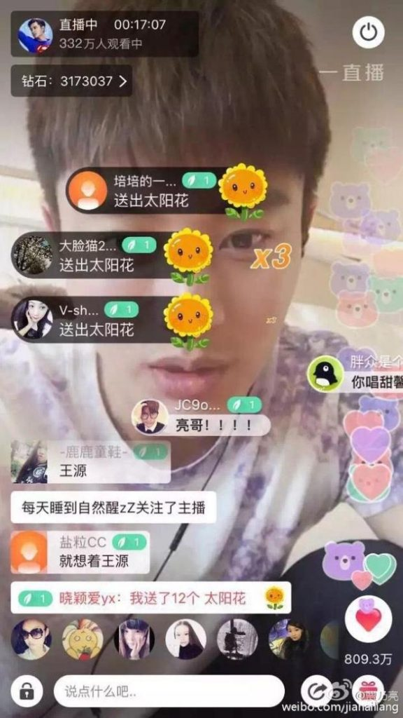 Mass communication in live streaming app in China (Image credit: Sina)